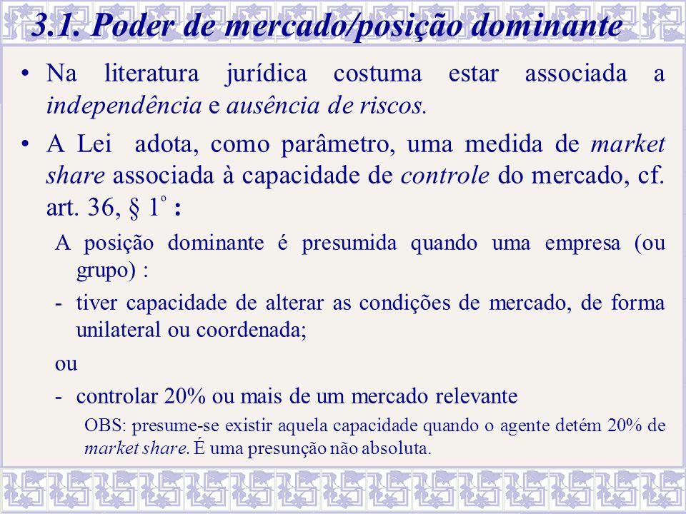 3.1. Poder de mercado/posição dominante Na literatura jurídica costuma estar associada a independência e ausência de riscos. A Lei adota, como parâmet