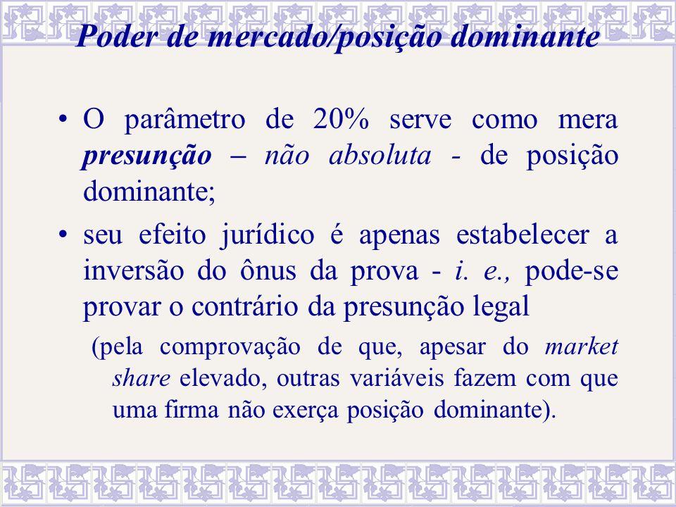 Poder de mercado/posição dominante O parâmetro de 20% serve como mera presunção – não absoluta - de posição dominante; seu efeito jurídico é apenas es