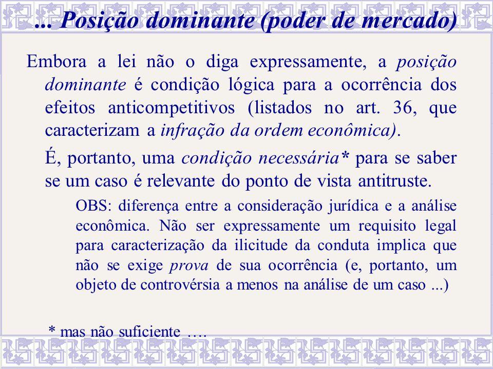 ... Posição dominante (poder de mercado) Embora a lei não o diga expressamente, a posição dominante é condição lógica para a ocorrência dos efeitos an