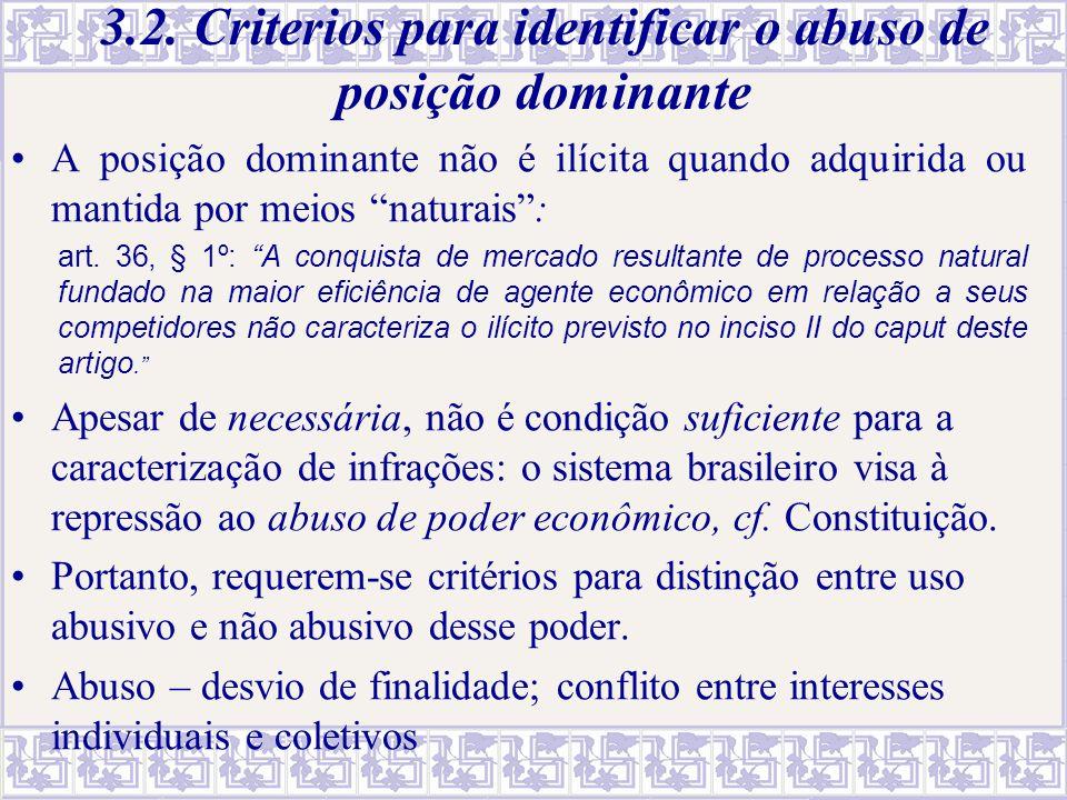 """3.2. Criterios para identificar o abuso de posição dominante A posição dominante não é ilícita quando adquirida ou mantida por meios """"naturais"""": art."""