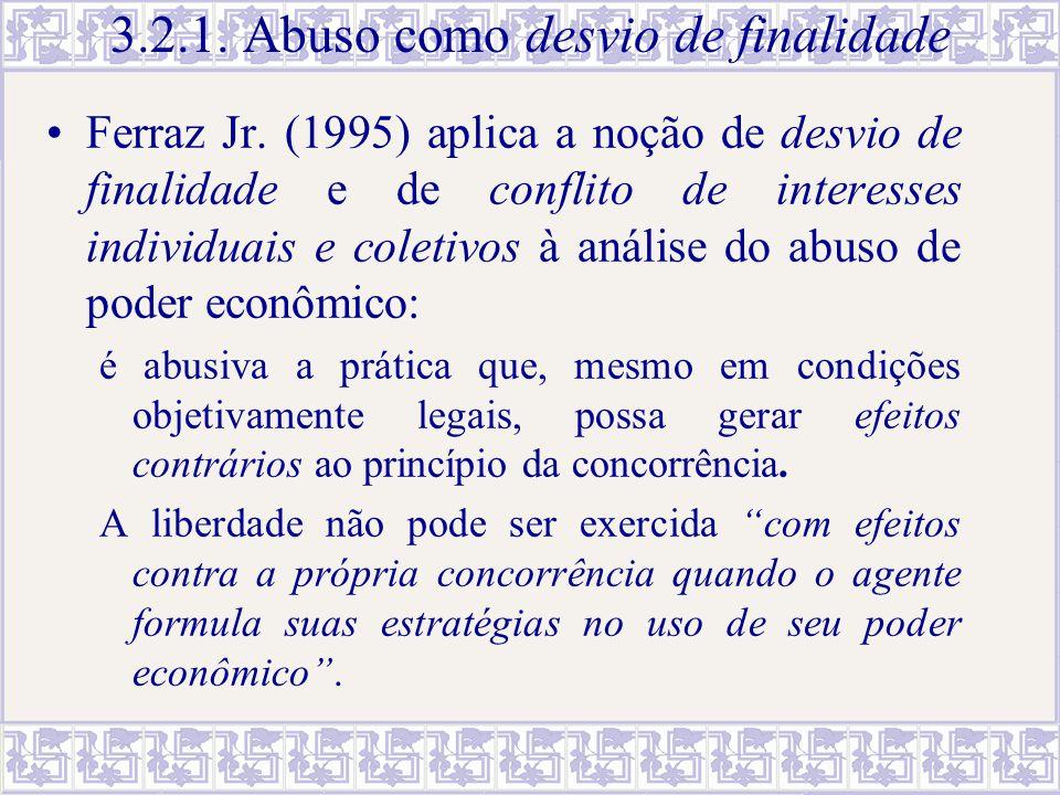 3.2.1. Abuso como desvio de finalidade Ferraz Jr. (1995) aplica a noção de desvio de finalidade e de conflito de interesses individuais e coletivos à
