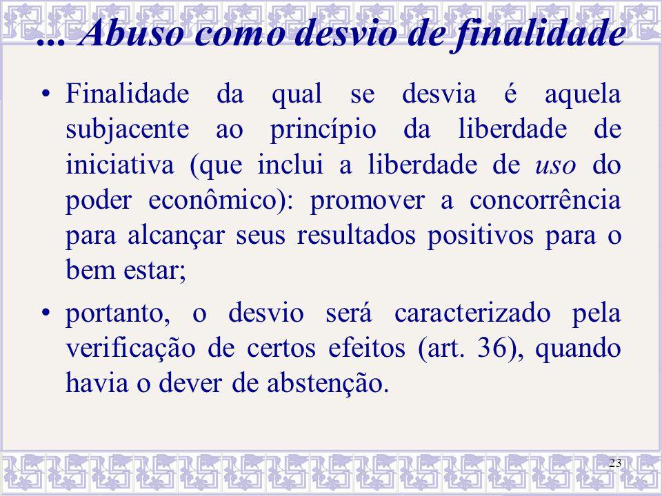 23... Abuso como desvio de finalidade Finalidade da qual se desvia é aquela subjacente ao princípio da liberdade de iniciativa (que inclui a liberdade