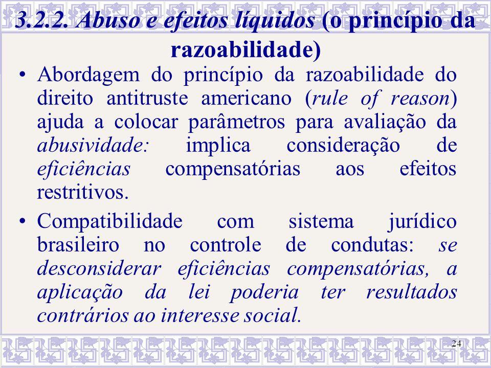 24 3.2.2. Abuso e efeitos líquidos (o princípio da razoabilidade) Abordagem do princípio da razoabilidade do direito antitruste americano (rule of rea