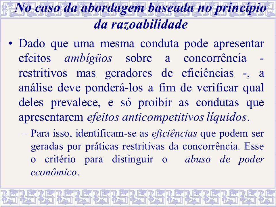 No caso da abordagem baseada no princípio da razoabilidade Dado que uma mesma conduta pode apresentar efeitos ambígüos sobre a concorrência - restriti
