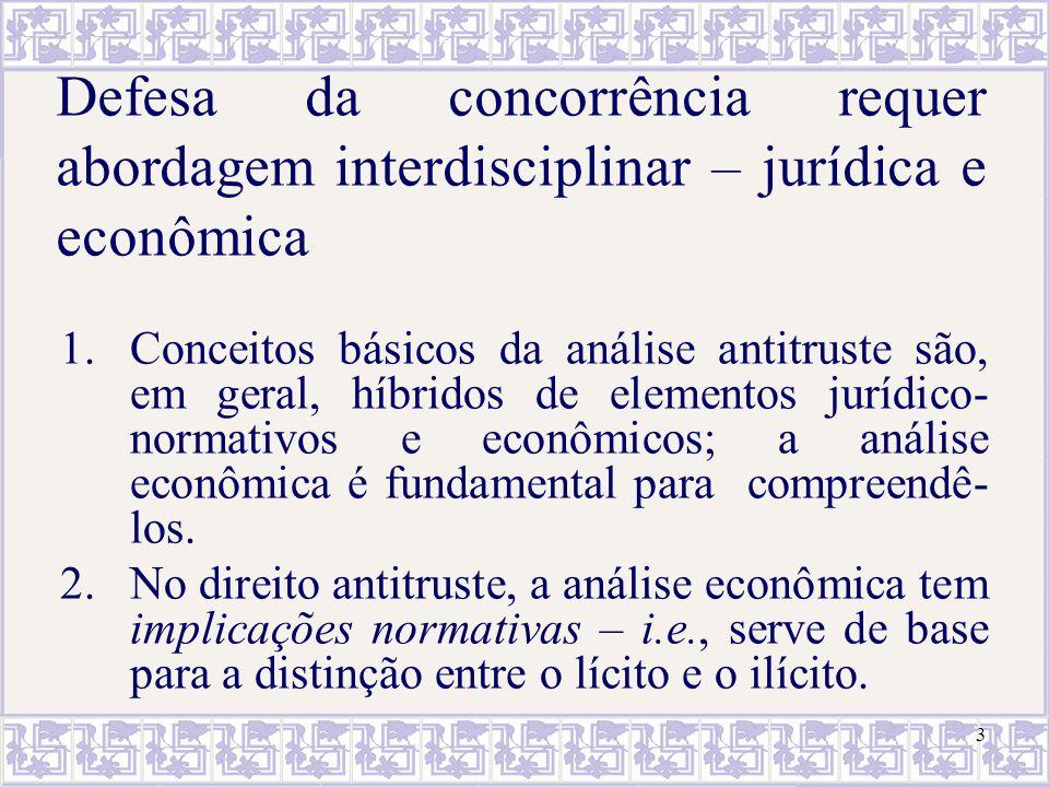 3 Defesa da concorrência requer abordagem interdisciplinar – jurídica e econômica 1.Conceitos básicos da análise antitruste são, em geral, híbridos de