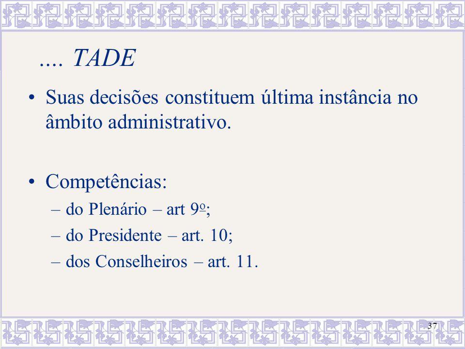37.... TADE Suas decisões constituem última instância no âmbito administrativo. Competências: –do Plenário – art 9 o ; –do Presidente – art. 10; –dos