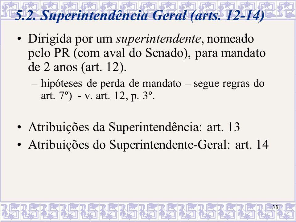 38 5.2. Superintendência Geral (arts. 12-14) Dirigida por um superintendente, nomeado pelo PR (com aval do Senado), para mandato de 2 anos (art. 12).
