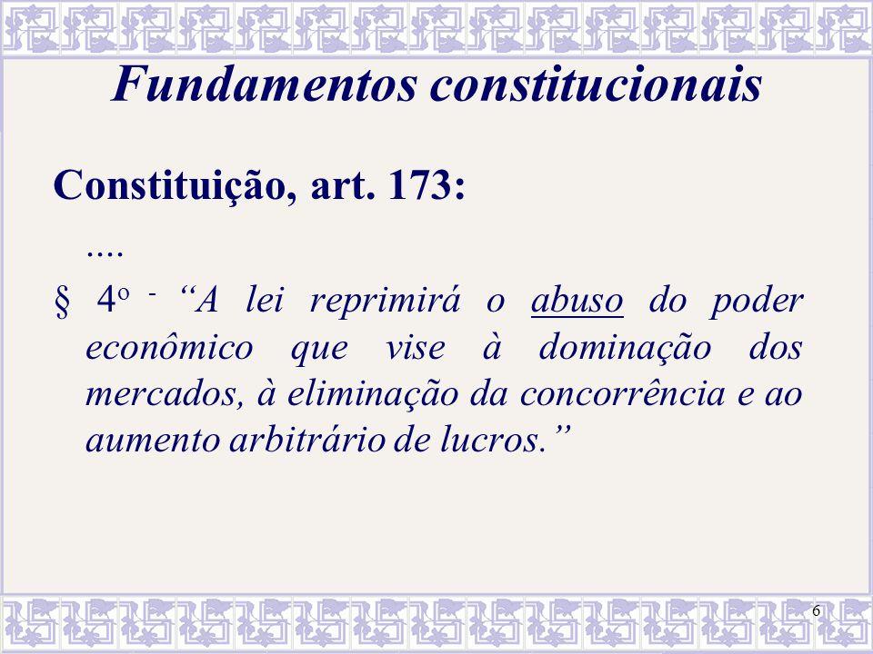 """6 Fundamentos constitucionais Constituição, art. 173:.... § 4 o - """"A lei reprimirá o abuso do poder econômico que vise à dominação dos mercados, à eli"""