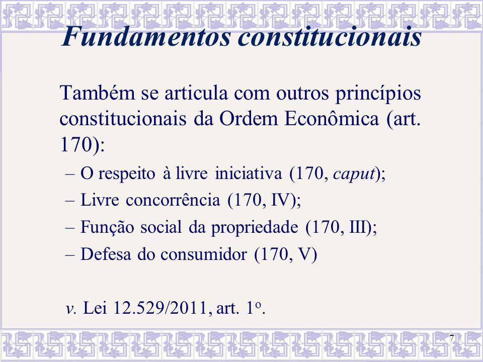 7 Fundamentos constitucionais Também se articula com outros princípios constitucionais da Ordem Econômica (art. 170): –O respeito à livre iniciativa (