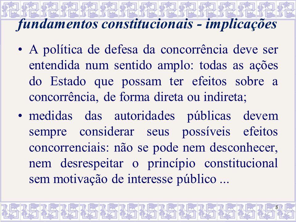8 fundamentos constitucionais - implicações A política de defesa da concorrência deve ser entendida num sentido amplo: todas as ações do Estado que po