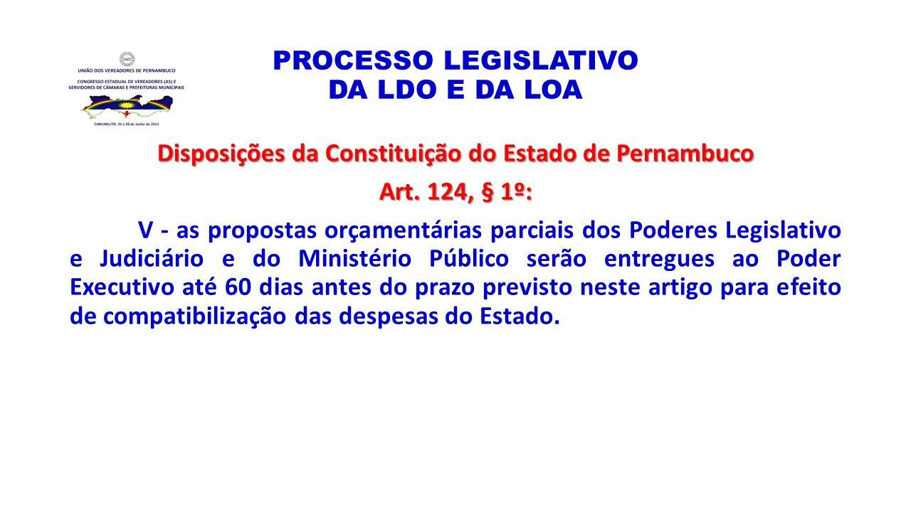 PROCESSO LEGISLATIVO DA LDO E DA LOA Disposições da Constituição do Estado de Pernambuco Art. 124, § 1º: V - as propostas orçamentárias parciais dos P