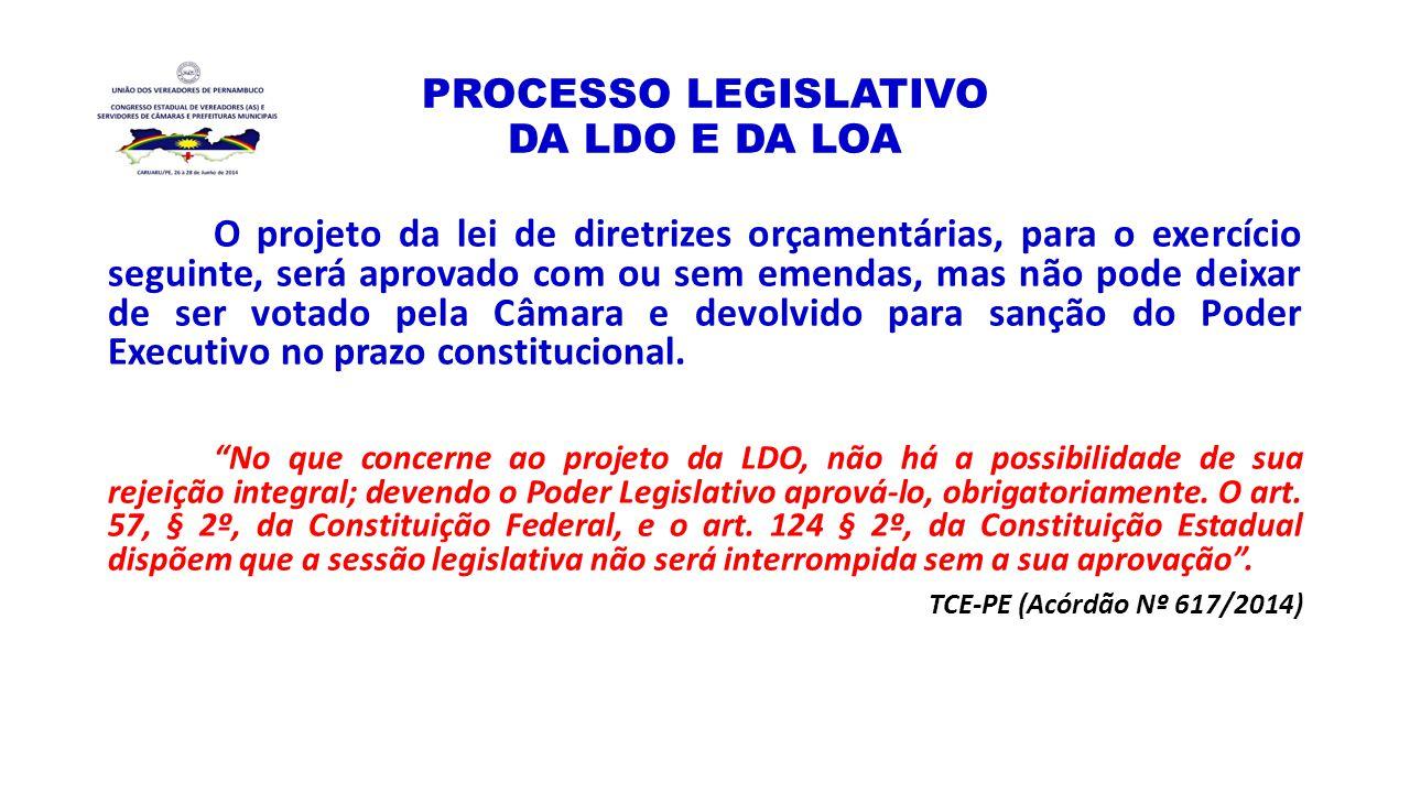 PROCESSO LEGISLATIVO DA LDO E DA LOA O projeto da lei de diretrizes orçamentárias, para o exercício seguinte, será aprovado com ou sem emendas, mas nã