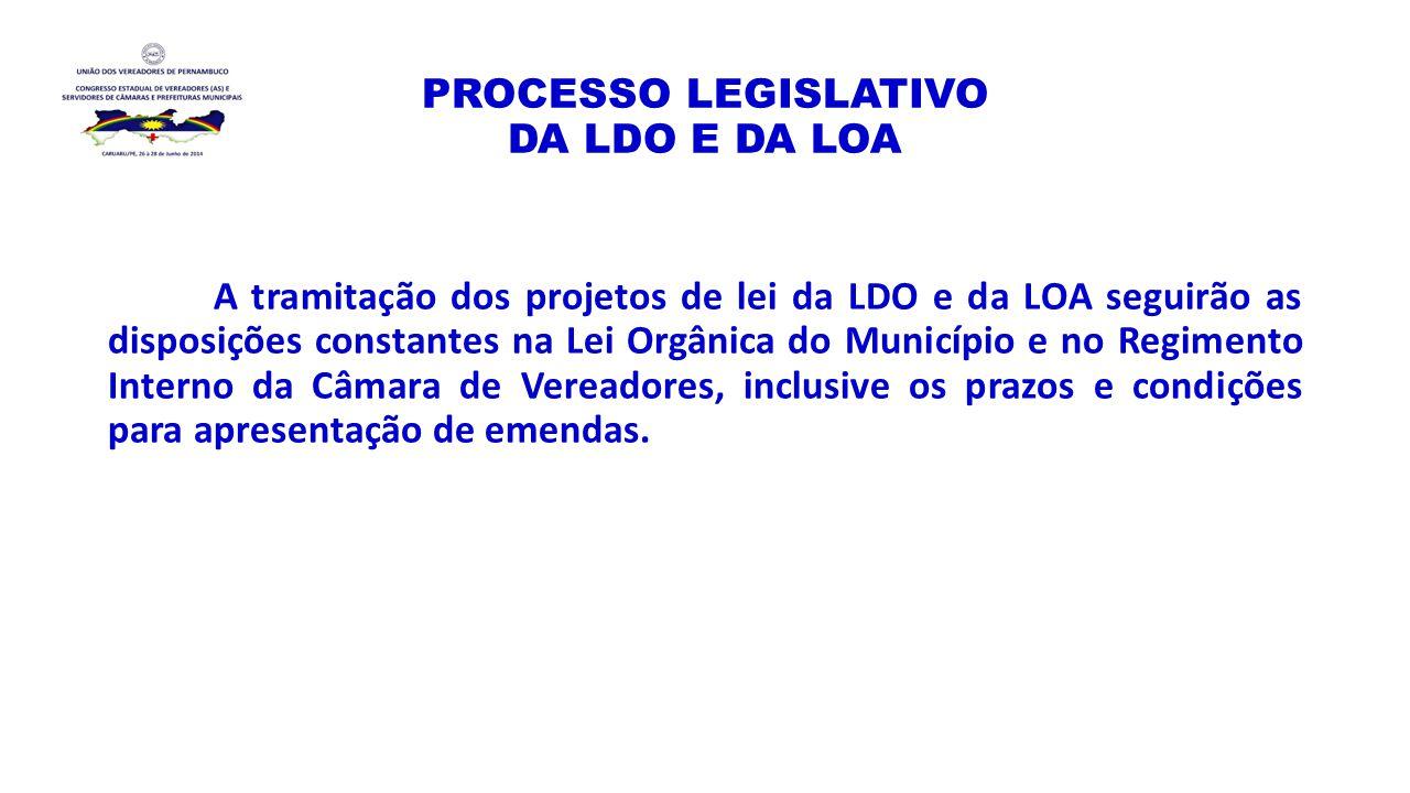 PROCESSO LEGISLATIVO DA LDO E DA LOA A tramitação dos projetos de lei da LDO e da LOA seguirão as disposições constantes na Lei Orgânica do Município
