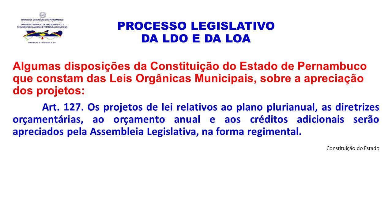 PROCESSO LEGISLATIVO DA LDO E DA LOA Algumas disposições da Constituição do Estado de Pernambuco que constam das Leis Orgânicas Municipais, sobre a ap