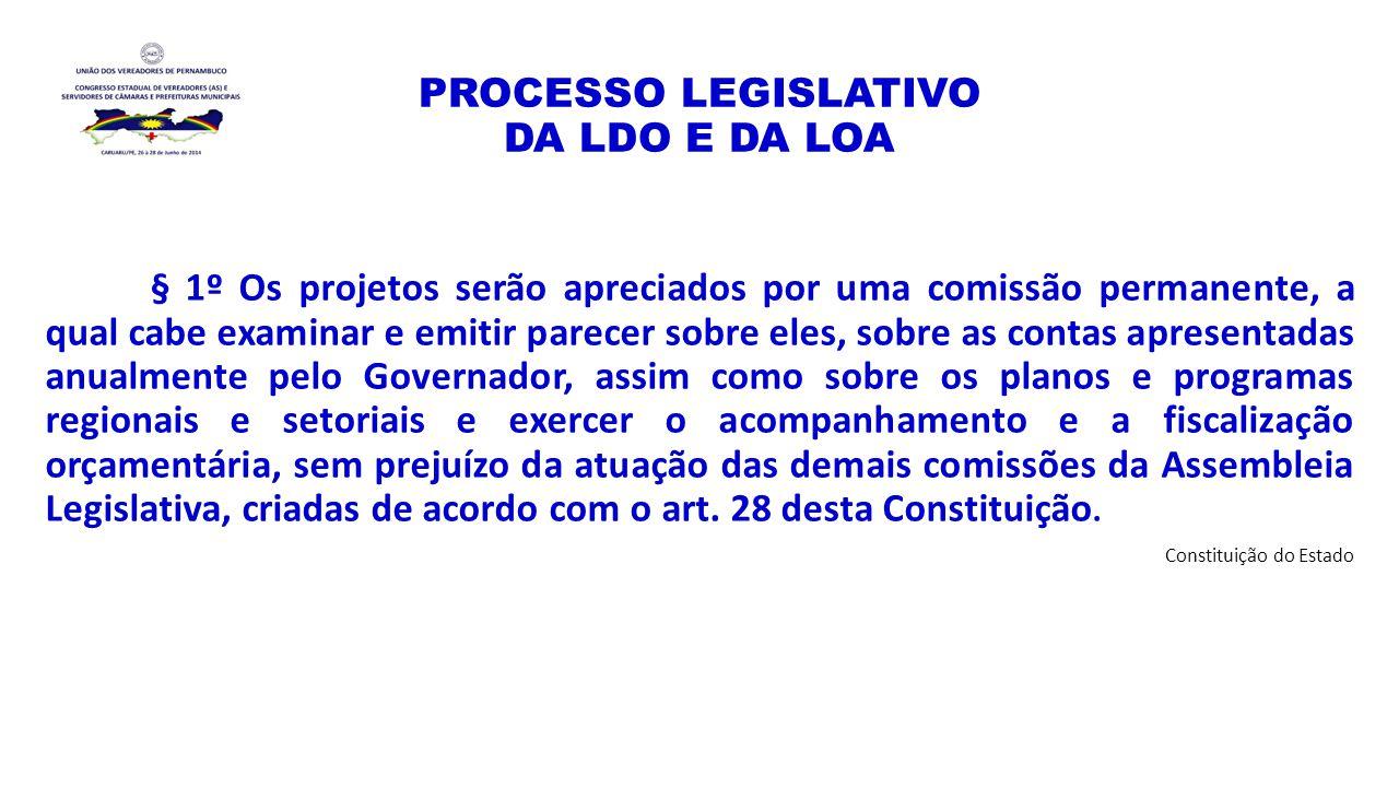 PROCESSO LEGISLATIVO DA LDO E DA LOA § 1º Os projetos serão apreciados por uma comissão permanente, a qual cabe examinar e emitir parecer sobre eles,