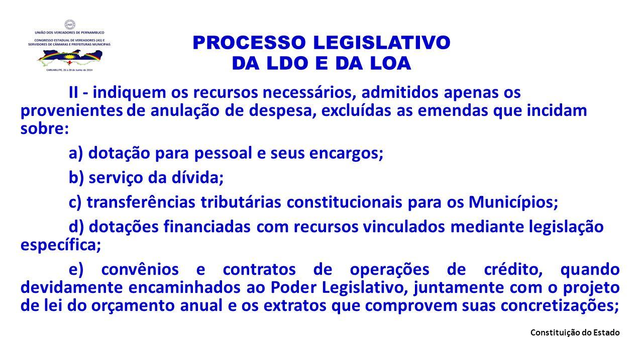 PROCESSO LEGISLATIVO DA LDO E DA LOA II - indiquem os recursos necessários, admitidos apenas os provenientes de anulação de despesa, excluídas as emen