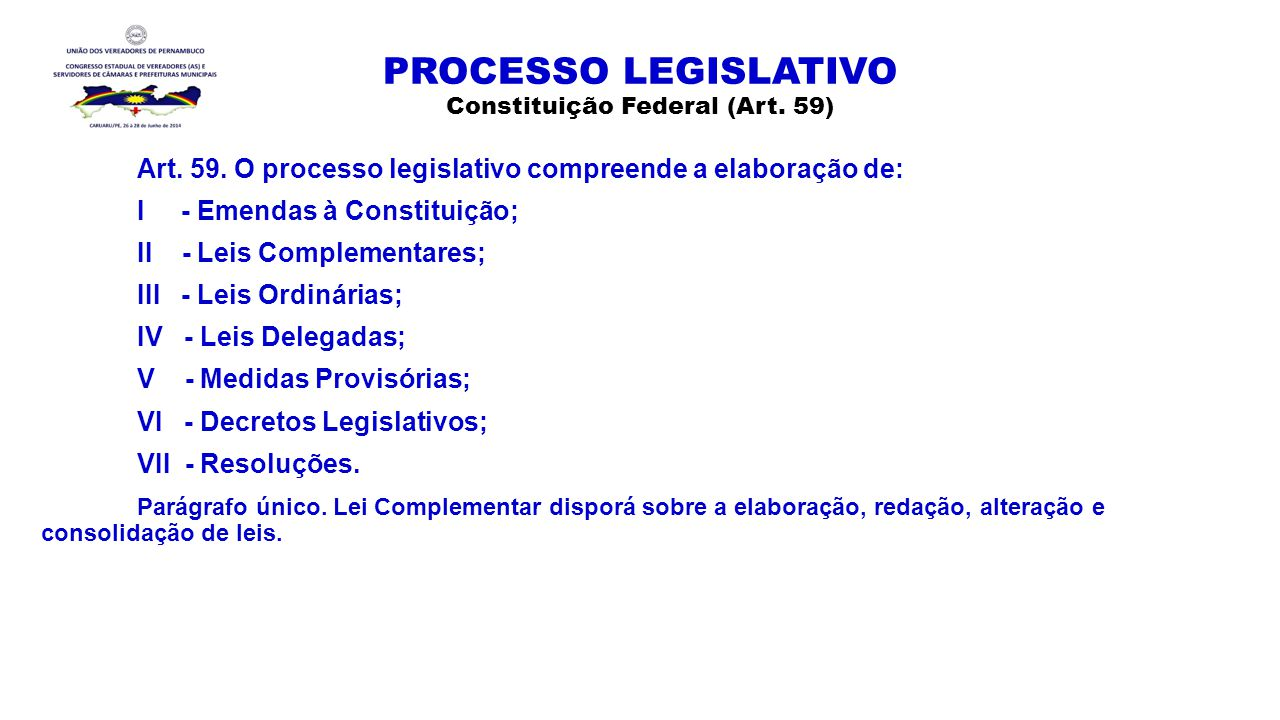 PROCESSO LEGISLATIVO Constituição Federal (Art. 59) Art. 59. O processo legislativo compreende a elaboração de: I - Emendas à Constituição; II - Leis
