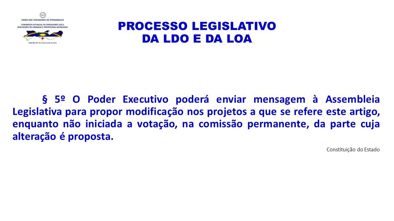 PROCESSO LEGISLATIVO DA LDO E DA LOA § 5º O Poder Executivo poderá enviar mensagem à Assembleia Legislativa para propor modificação nos projetos a que