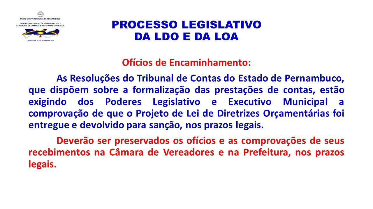 PROCESSO LEGISLATIVO DA LDO E DA LOA Ofícios de Encaminhamento: As Resoluções do Tribunal de Contas do Estado de Pernambuco, que dispõem sobre a forma