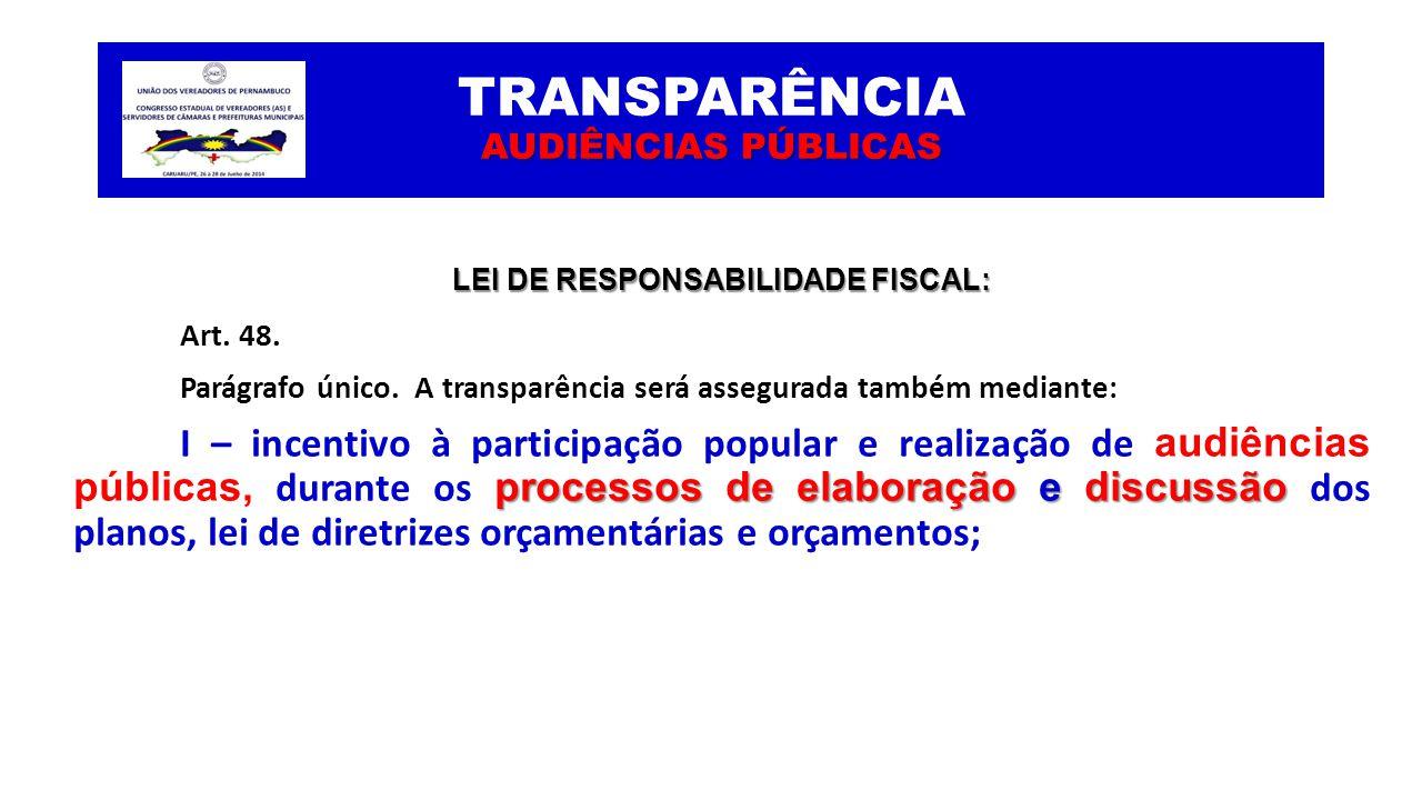 AUDIÊNCIAS PÚBLICAS TRANSPARÊNCIA AUDIÊNCIAS PÚBLICAS LEI DE RESPONSABILIDADE FISCAL: Art. 48. Parágrafo único. A transparência será assegurada também