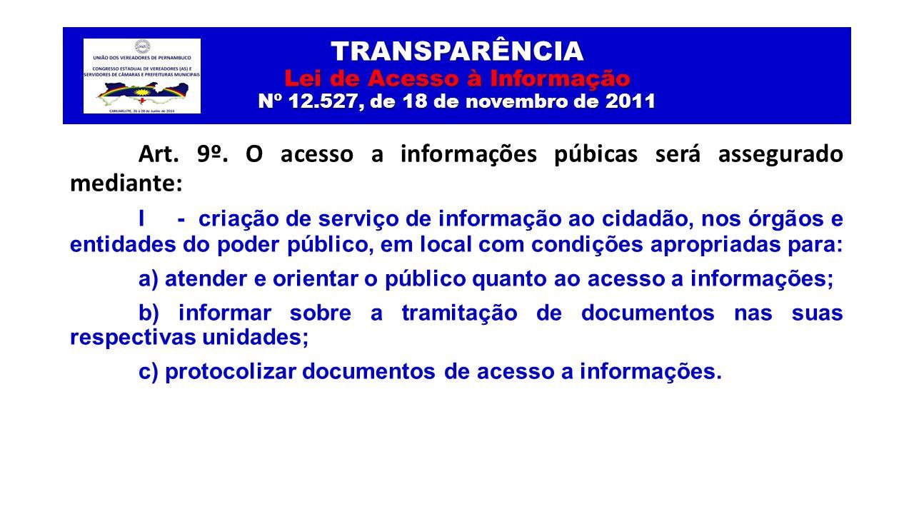TRANSPARÊNCIA Lei de Acesso à Informação Nº 12.527, de 18 de novembro de 2011 Art. 9º. O acesso a informações púbicas será assegurado mediante: I - cr