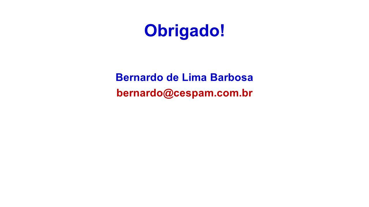 Obrigado! Bernardo de Lima Barbosa bernardo@cespam.com.br