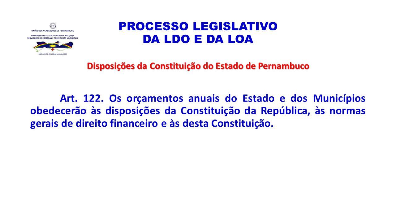 PROCESSO LEGISLATIVO DA LDO E DA LOA Disposições da Constituição do Estado de Pernambuco Art. 122. Os orçamentos anuais do Estado e dos Municípios obe