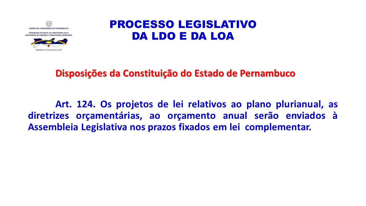 PROCESSO LEGISLATIVO DA LDO E DA LOA Disposições da Constituição do Estado de Pernambuco Art. 124. Os projetos de lei relativos ao plano plurianual, a