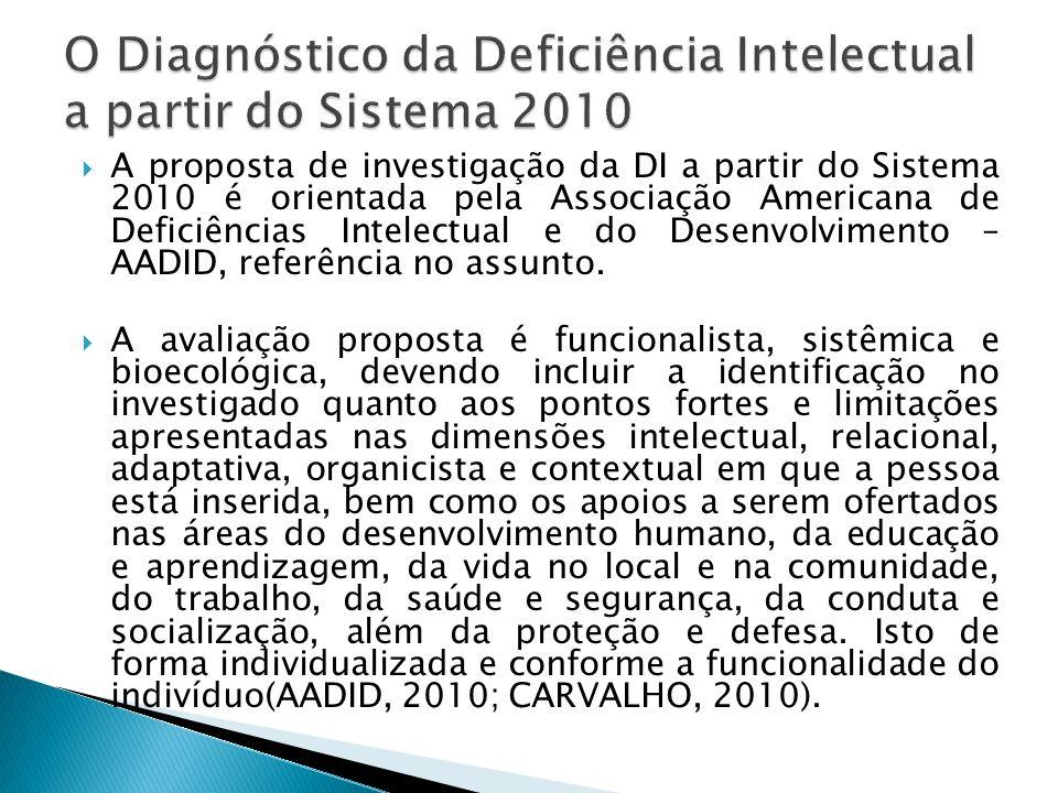  A proposta de investigação da DI a partir do Sistema 2010 é orientada pela Associação Americana de Deficiências Intelectual e do Desenvolvimento – A