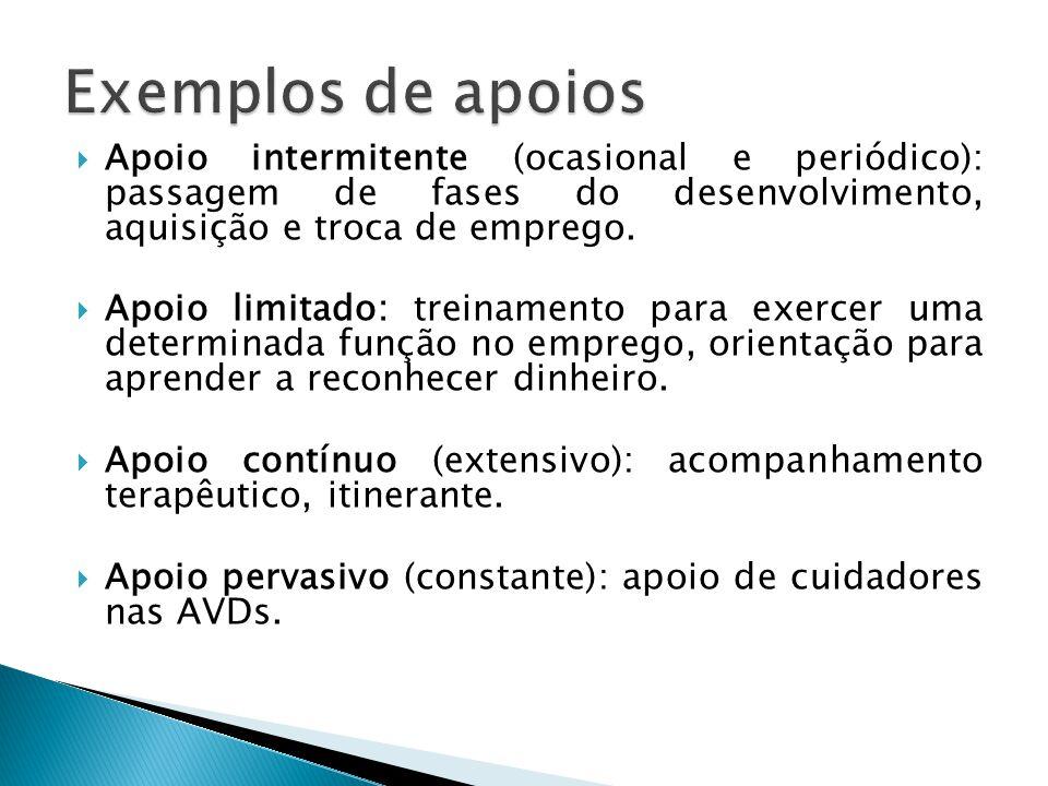  Apoio intermitente (ocasional e periódico): passagem de fases do desenvolvimento, aquisição e troca de emprego.  Apoio limitado: treinamento para e