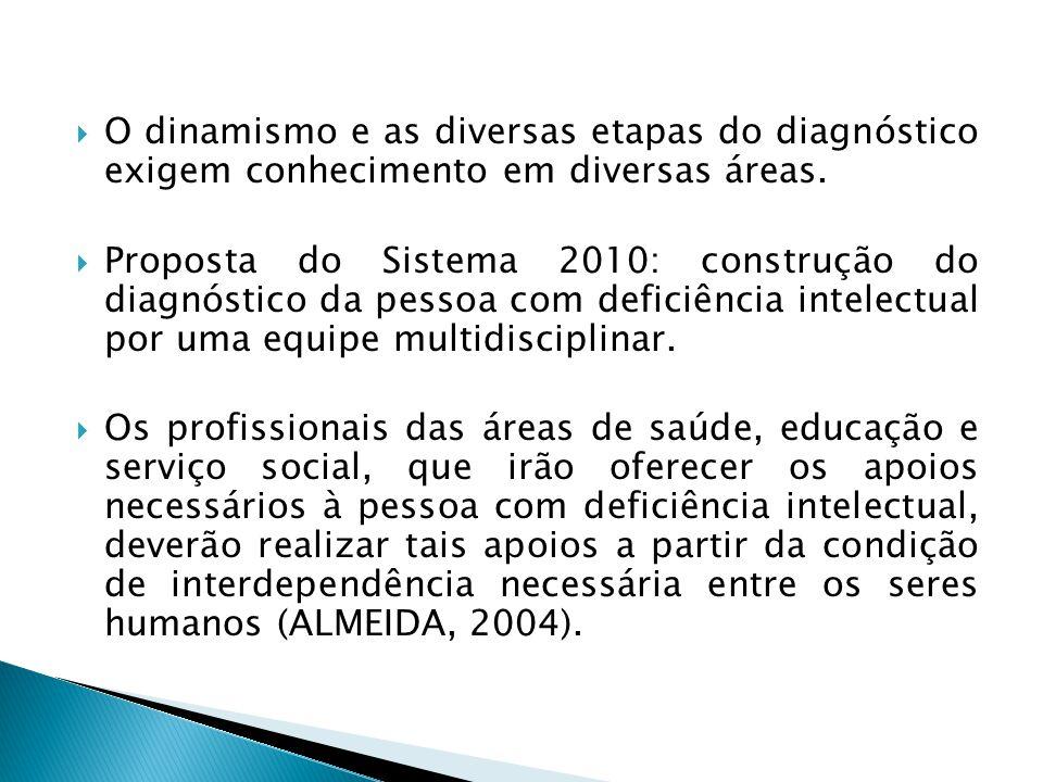  O dinamismo e as diversas etapas do diagnóstico exigem conhecimento em diversas áreas.  Proposta do Sistema 2010: construção do diagnóstico da pess