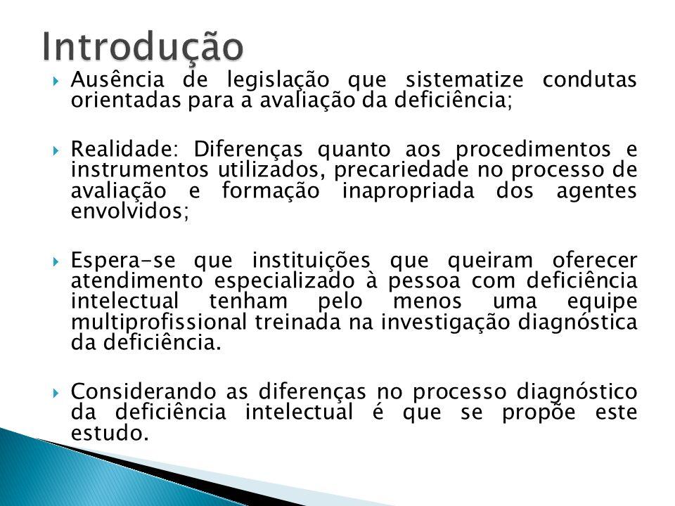  Ausência de legislação que sistematize condutas orientadas para a avaliação da deficiência;  Realidade: Diferenças quanto aos procedimentos e instr