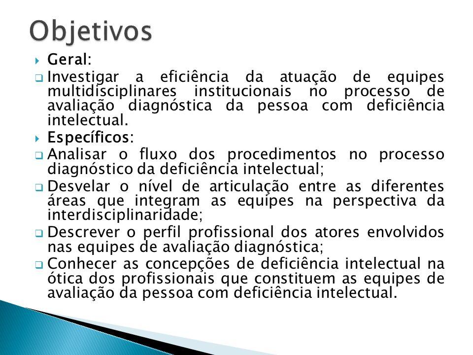  Geral:  Investigar a eficiência da atuação de equipes multidisciplinares institucionais no processo de avaliação diagnóstica da pessoa com deficiên
