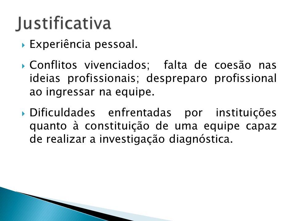 Experiência pessoal.  Conflitos vivenciados; falta de coesão nas ideias profissionais; despreparo profissional ao ingressar na equipe.  Dificuldad