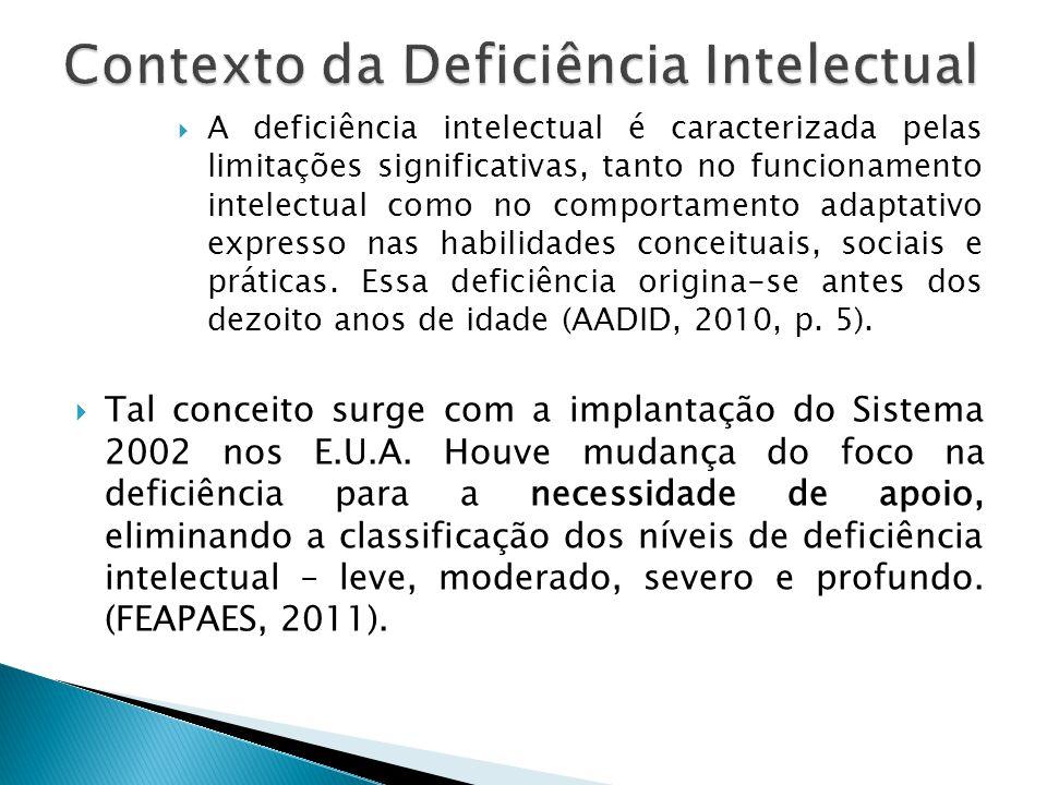  A proposta de investigação da DI a partir do Sistema 2010 é orientada pela Associação Americana de Deficiências Intelectual e do Desenvolvimento – AADID, referência no assunto.