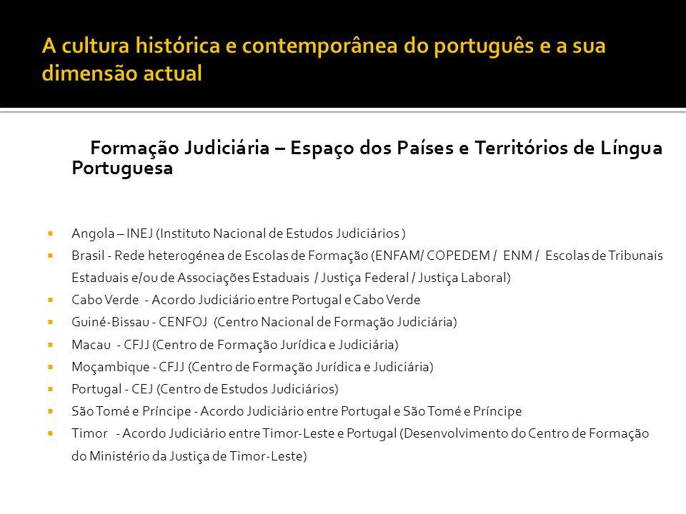 Formação Judiciária – Espaço dos Países e Territórios de Língua Portuguesa  Angola – INEJ (Instituto Nacional de Estudos Judiciários )  Brasil - Red