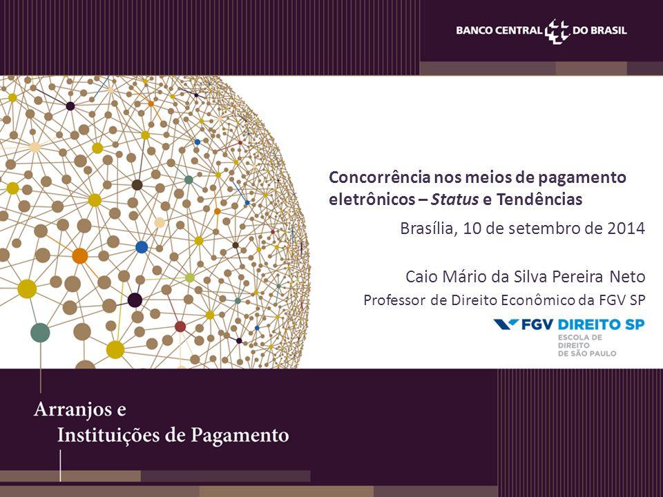 Concorrência nos meios de pagamento eletrônicos – Status e Tendências Brasília, 10 de setembro de 2014 Caio Mário da Silva Pereira Neto Professor de D