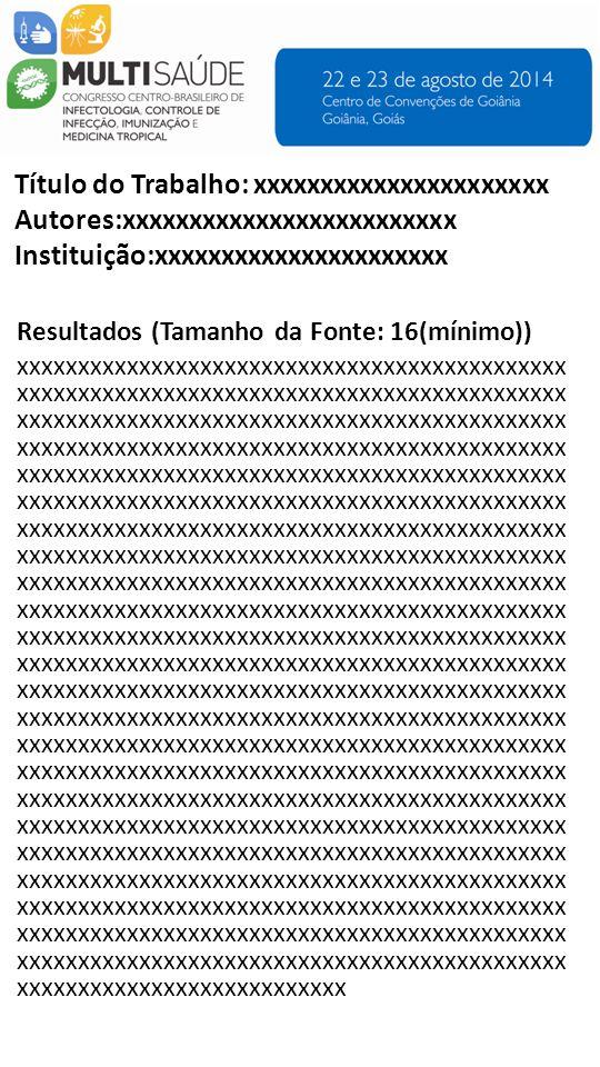 Imagens e Tabelas (Tamanho da Fonte: 16 (mínimo)) Título do Trabalho: xxxxxxxxxxxxxxxxxxxxxx Autores:xxxxxxxxxxxxxxxxxxxxxxxxx Instituição:xxxxxxxxxxxxxxxxxxxxxx