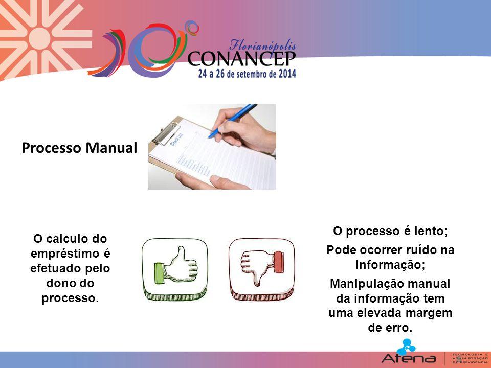 8 Processo Manual O calculo do empréstimo é efetuado pelo dono do processo.