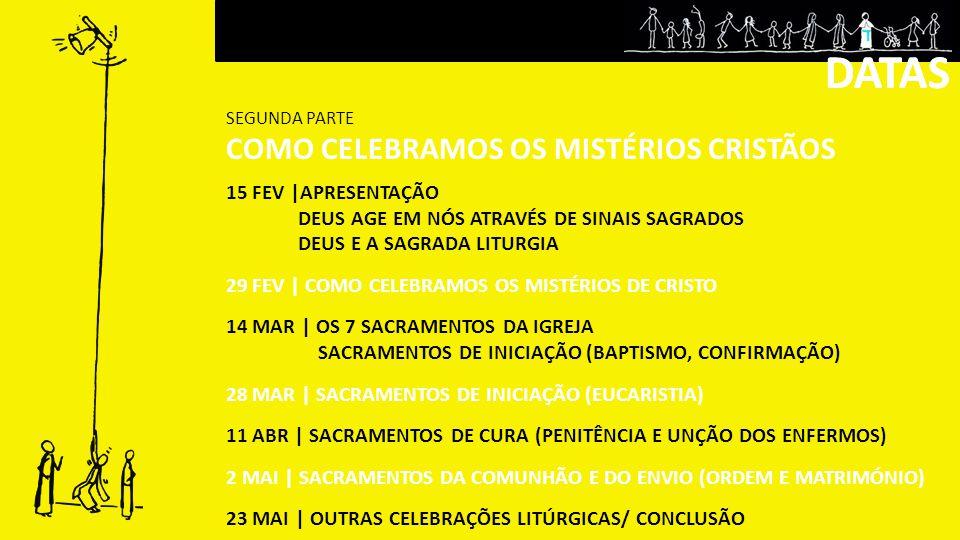 15 FEV |APRESENTAÇÃO DEUS AGE EM NÓS ATRAVÉS DE SINAIS SAGRADOS DEUS E A SAGRADA LITURGIA 29 FEV | COMO CELEBRAMOS OS MISTÉRIOS DE CRISTO 14 MAR | OS 7 SACRAMENTOS DA IGREJA SACRAMENTOS DE INICIAÇÃO (BAPTISMO, CONFIRMAÇÃO) 28 MAR | SACRAMENTOS DE INICIAÇÃO (EUCARISTIA) 11 ABR | SACRAMENTOS DE CURA (PENITÊNCIA E UNÇÃO DOS ENFERMOS) 2 MAI | SACRAMENTOS DA COMUNHÃO E DO ENVIO (ORDEM E MATRIMÓNIO) 23 MAI | OUTRAS CELEBRAÇÕES LITÚRGICAS/ CONCLUSÃO DATAS SEGUNDA PARTE COMO CELEBRAMOS OS MISTÉRIOS CRISTÃOS DATAS