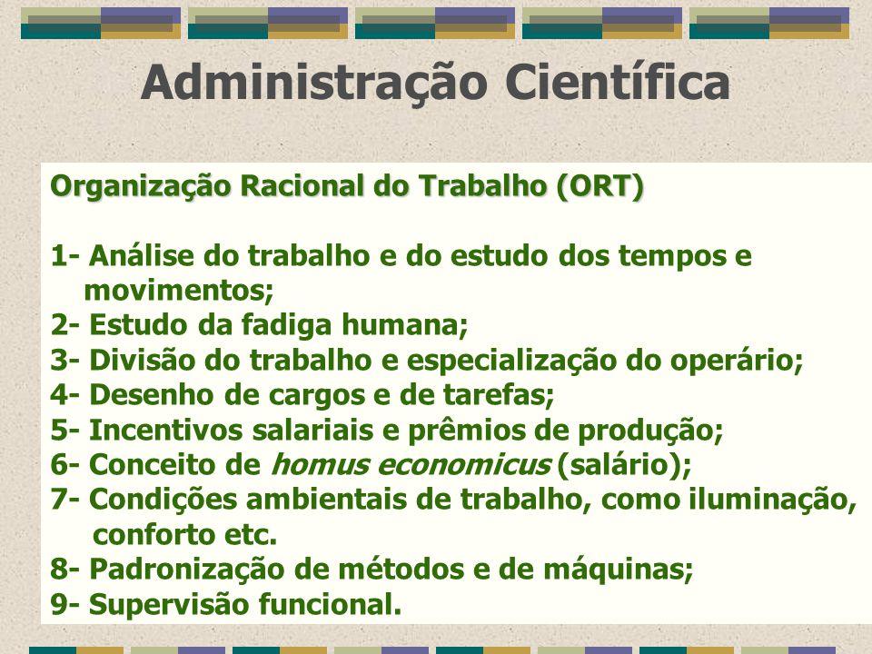 Administração Científica Organização Racional do Trabalho (ORT) 1- Análise do trabalho e do estudo dos tempos e movimentos; 2- Estudo da fadiga humana