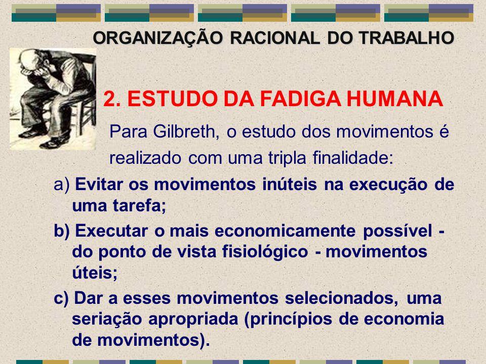 ORGANIZAÇÃO RACIONAL DO TRABALHO 2. ESTUDO DA FADIGA HUMANA Para Gilbreth, o estudo dos movimentos é realizado com uma tripla finalidade: a) Evitar os