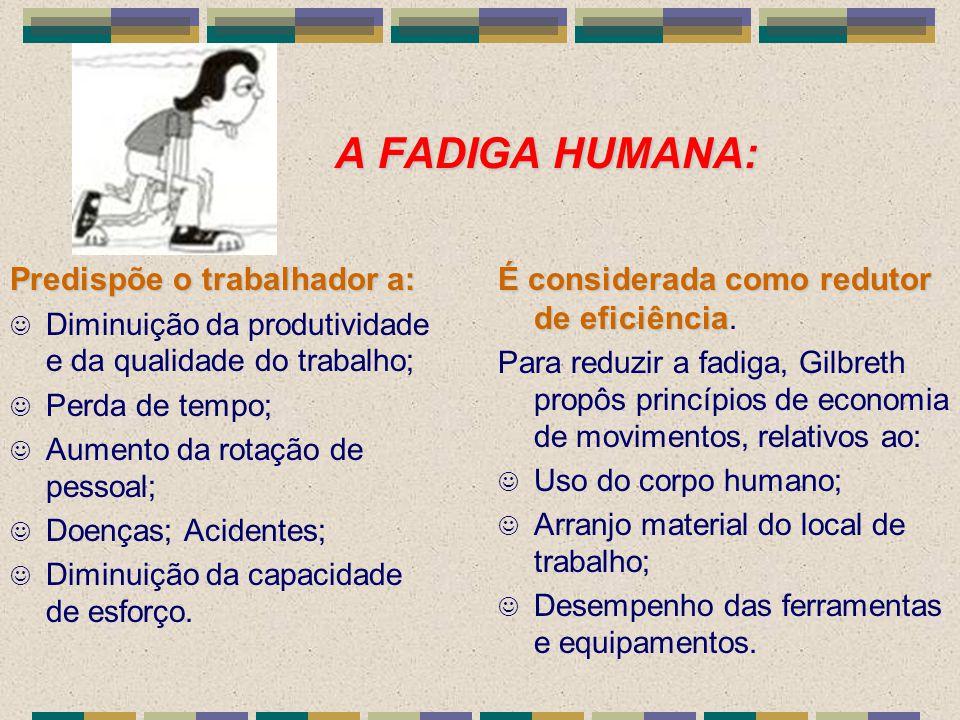A FADIGA HUMANA: Predispõe o trabalhador a: J Diminuição da produtividade e da qualidade do trabalho; J Perda de tempo; J Aumento da rotação de pessoa