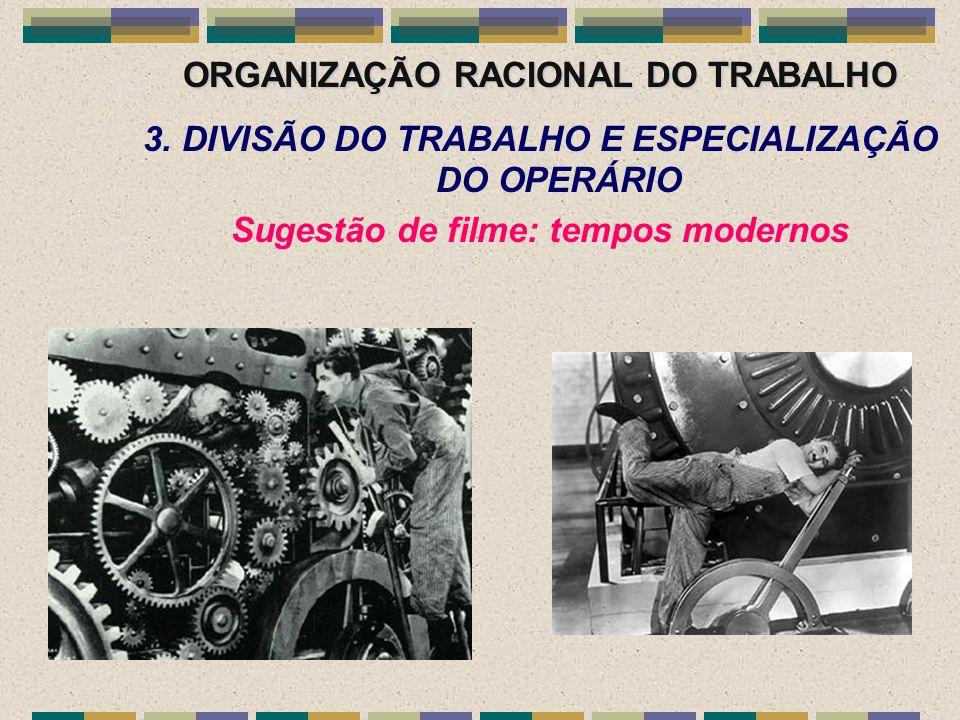 ORGANIZAÇÃO RACIONAL DO TRABALHO 3. DIVISÃO DO TRABALHO E ESPECIALIZAÇÃO DO OPERÁRIO Sugestão de filme: tempos modernos