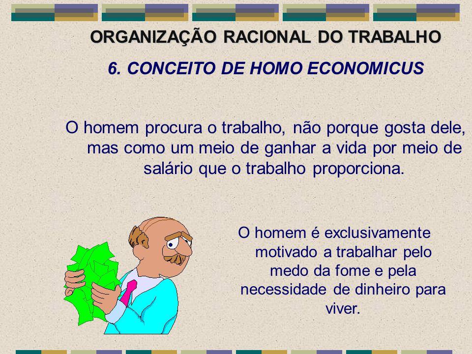 ORGANIZAÇÃO RACIONAL DO TRABALHO 6. CONCEITO DE HOMO ECONOMICUS O homem procura o trabalho, não porque gosta dele, mas como um meio de ganhar a vida p