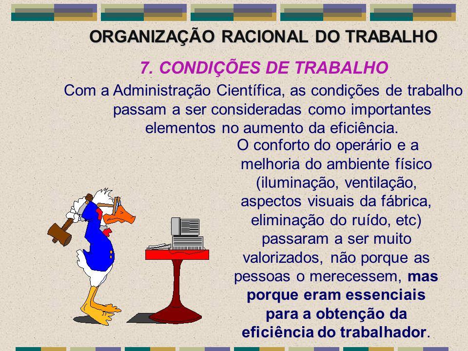 ORGANIZAÇÃO RACIONAL DO TRABALHO 7. CONDIÇÕES DE TRABALHO Com a Administração Científica, as condições de trabalho passam a ser consideradas como impo