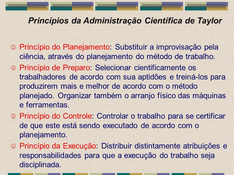 Princípios da Administração Científica de Taylor J Princípio do Planejamento: Substituir a improvisação pela ciência, através do planejamento do métod