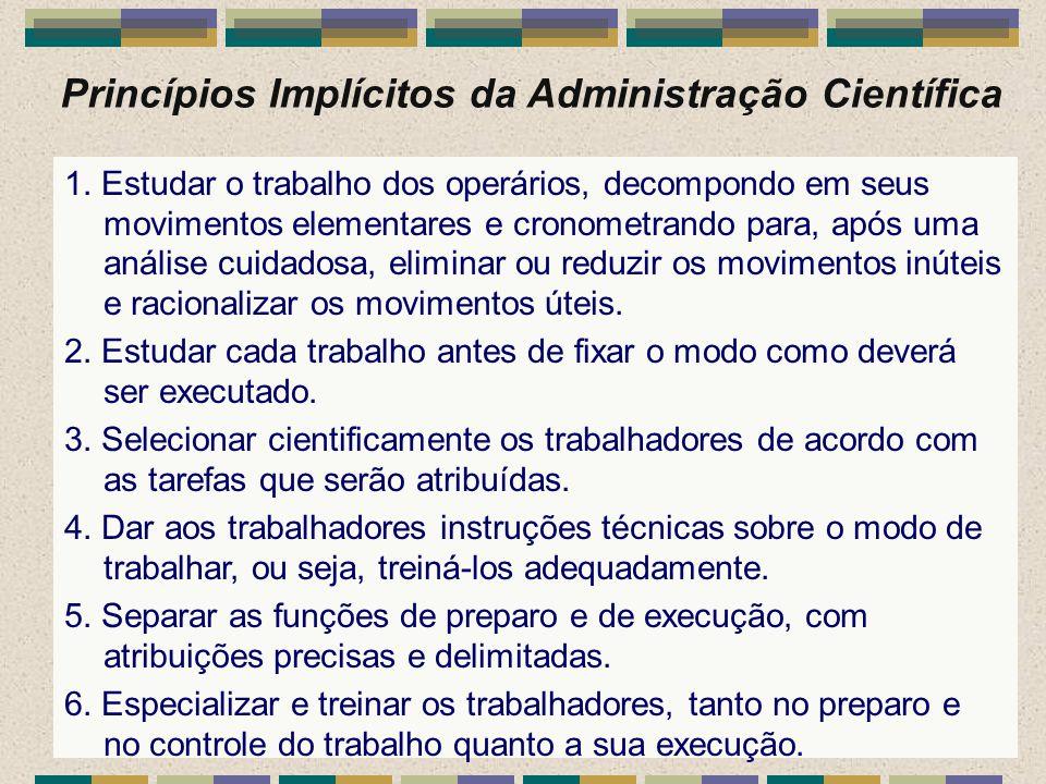 Princípios Implícitos da Administração Científica 1. Estudar o trabalho dos operários, decompondo em seus movimentos elementares e cronometrando para,