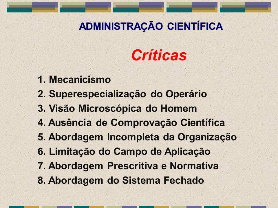 ADMINISTRAÇÃO CIENTÍFICA Críticas 1. Mecanicismo 2. Superespecialização do Operário 3. Visão Microscópica do Homem 4. Ausência de Comprovação Científi