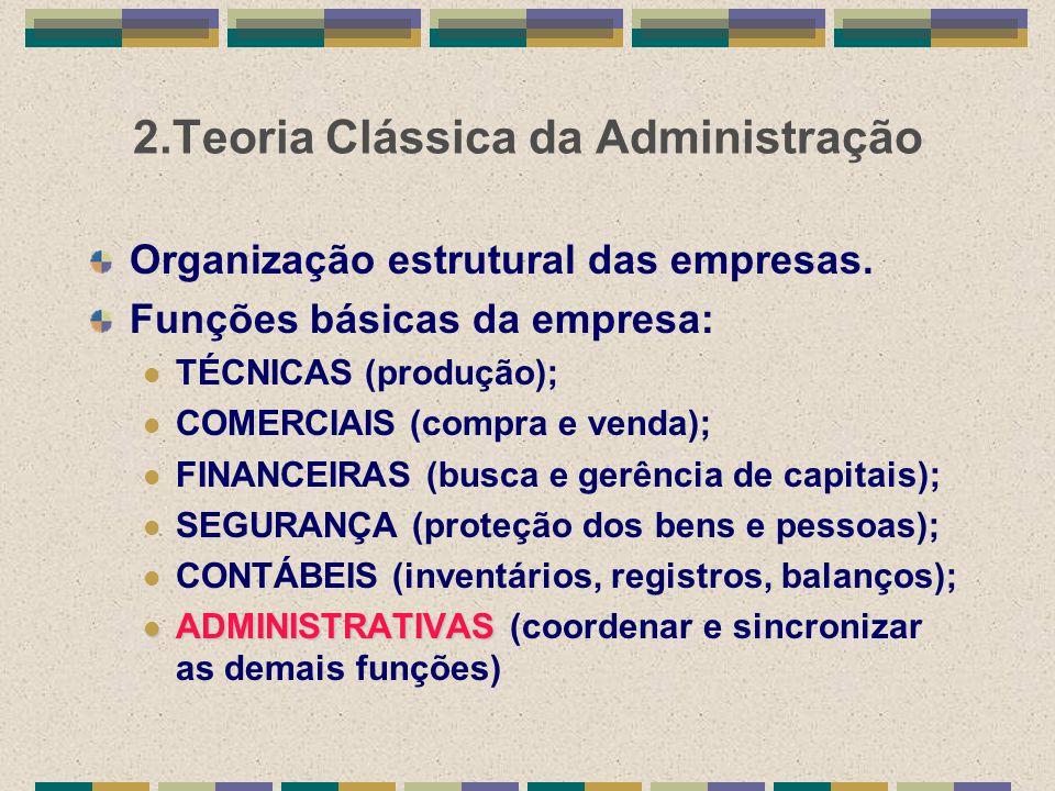 2.Teoria Clássica da Administração Organização estrutural das empresas. Funções básicas da empresa: TÉCNICAS (produção); COMERCIAIS (compra e venda);